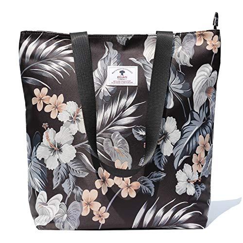 Waterproof Tote Bag,Original Floral Leaf Lightweight Fashion Shoulder Bag Lunch Bag for Shopping Yoga Gym Hiking Swimming Travel Beach ([X] Floral Leaf)