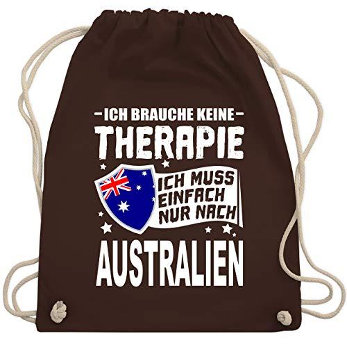 Länder - Ich brauche keine Therapie Ich muss einfach nur nach Australien - weiß - Unisize - Braun - WM110_Stoffbeutel - WM110 - Turnbeutel und Stoffbeutel aus Baumwolle
