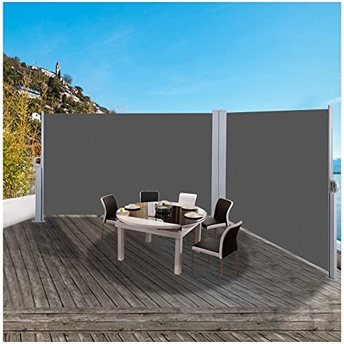 Toldo Lateral Retráctil 160 x 300cm, Toldo Extensible de privacidad para balcón, Resistente al Viento & la Lluvia, Hierro y Aluminio galvanizados, Poliéster 180g/㎡ para Patio Jardín