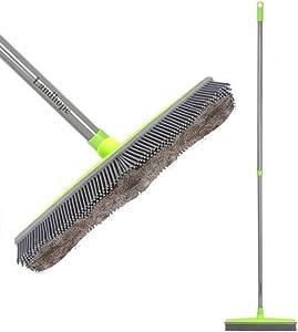 LandHope Push Broom Long-Handled Rubber Bristle Sweeper