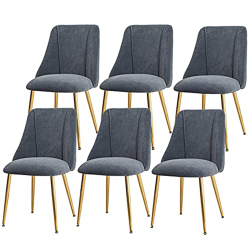 SFSGH Classic Velvet Dining Chairs Vintage Kitchen Chairs Thicken Seat Non-Slip Metal Legs Luxurious with Backrest Makeup Stool Computer Sofa Set of 6