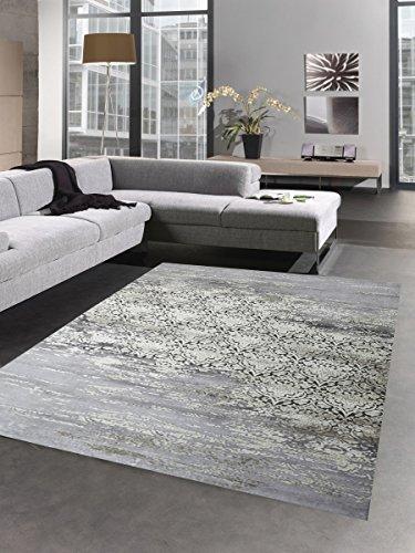 Carpetia Moderner Teppich Wollteppich Antik Vintage Ornamente grau Creme Größe 120x170 cm
