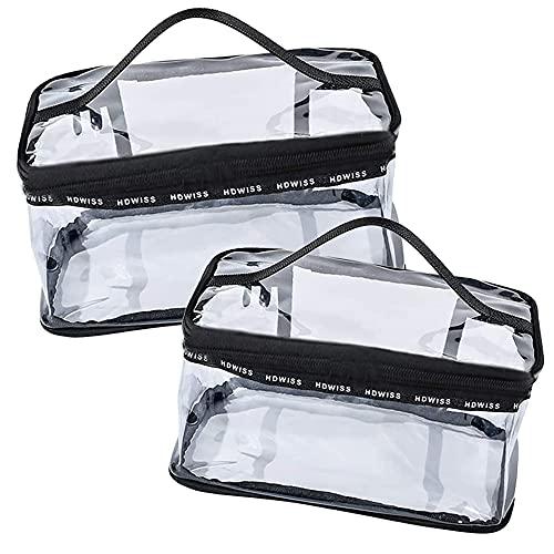 2 Pezzi PVC Impermeabili Trousse da Viaggio, Portatile Pochette Trucco con Cerniera, Borsa da Toilette con Manico e Cerniera, per Viaggi e Uso Quotidiano