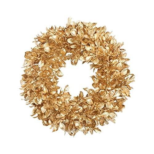 xllLU Gold Boxwood Wreath 12/17 Inches Artificial Fall Garland Farmhouse Decoration for Front Door Artificial Fall Wreath