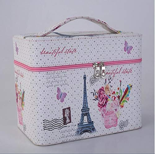 Women Large Capacity Professional Makeup Organizer Fashion Toiletry Cosmetic Bag Multilayer Storage Box Portable Flower Suitcase (Color : 1)