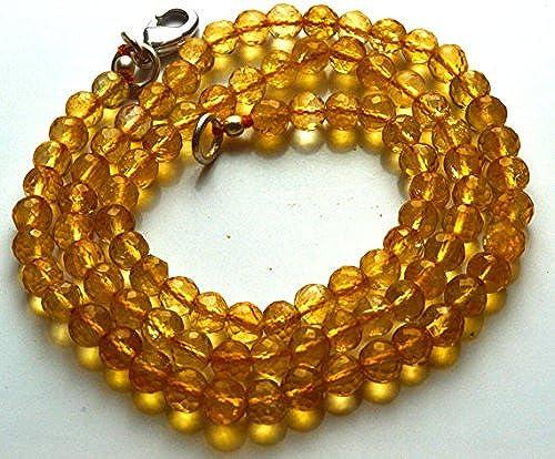 1 rang Natur 41,9  Super Rare AAA Golden Citrin Rund Facettiert Balles Form Perlen Halskette Größe 4,5 s 5