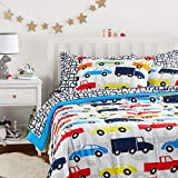 Amazon Basics Easy Care Super Soft Microfiber Kid's Bed-in-a-Bag Bedding Set - Full / Queen, Multi-Color Racing Cars