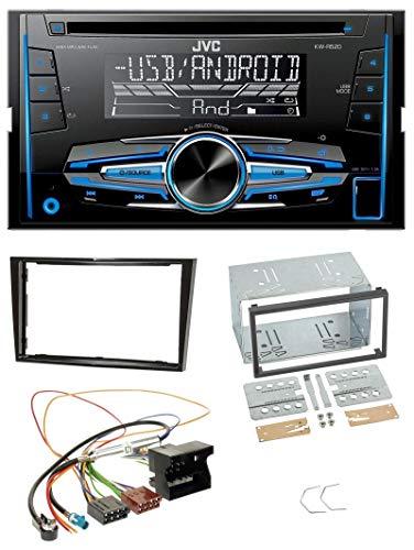 caraudio24 JVC KW-R520 MP3 USB CD 2DIN AUX Autoradio für Opel Astra H Corsa D Zafira B Klavierlack