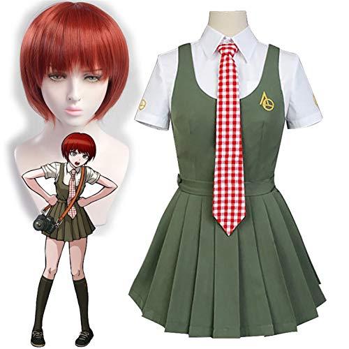 YBINGA Anime Koizumi Mahiru Cosplay Disfraces Danganronpa Pelucas Mahiru Koizumi Falda JK Uniforme Colegiala Halloween Carnaval Vestido de fiesta (Color: peluca y disfraz, tamaño: M)