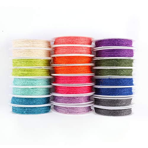 Happy Makers 12 Colors Thread Cord Multi-Color Flax String Cord, 1mm 120 Yards...