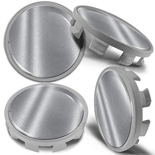 Biomar Labs 4 x 68mm Tapas de Rueda de Centro Tapacubos Centrales Llantas Aluminio Compatible con BMW Part. No. 36136783536 Negro Plata para Coche CBS 8