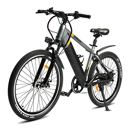 SDU Electric Bike SDREAM T350, Bicycle for Mountain/Urban, 1.95″ Tire 26″ Spoked Wheels, Front Suspension, Max 20 MPH Speed with 350W Motor and 48V/10.4Ah Removable Battery, Black and Silver
