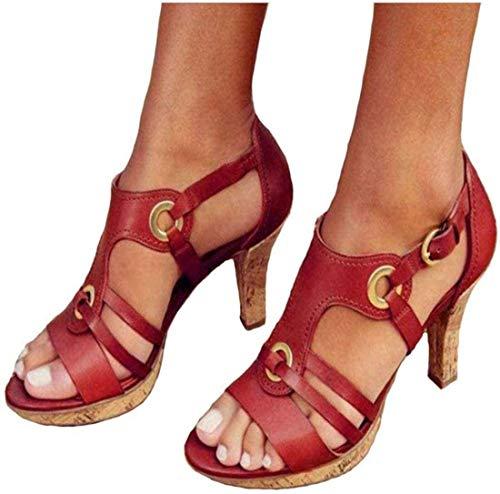 LONG-M Mujeres Sexy Correa Hebilla Sandalias De Tacón Alto Sandalias De Punta Abierta Fiesta Boda Zapatos,Rojo,35