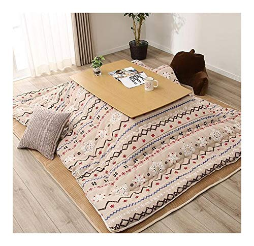 AntiGnor Modern Japanese Kotatsu Futon Rectangle 190x240cm Table Cover Kotatsu Futon Comforter Blanket Patchwork Style Cotton Soft Quilt (Color : Khaki Color, Size : 190x190cm)