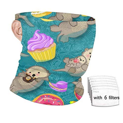 ENZOOIHUI Donut Cupcakes Bebé Nutrias significativas Bufanda de la Cara sin Costuras Bucles de Oreja con 6 filtros Anti-Polvo Cuello Polaina Sombreros Pasamontañas