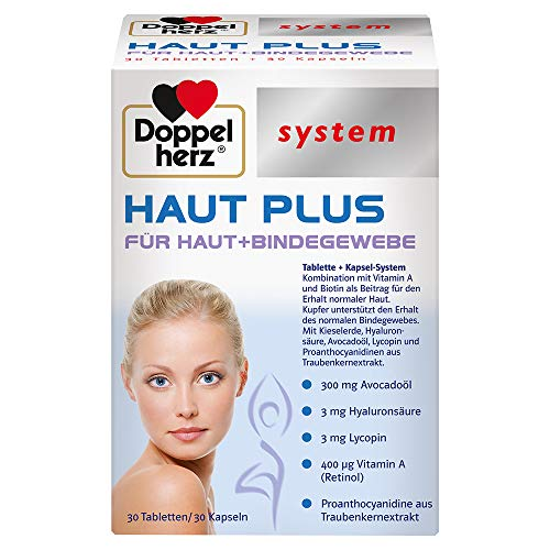 Doppelherz system HAUT PLUS Für Haut + Bindegewebe – Vitamin A und Biotin tragen zum Erhalt gesunder Haut bei – 30 Tabletten und 30 Kapseln
