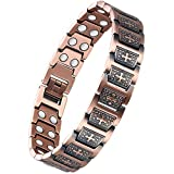 Wincone Magnetic Copper Bracelet for Men Arthritis and Carpal Tunnel Syndrome Pain Relief Confirmation Gifts Christian Cross 99.99% Pure Copper Magnetic Therapy Bracelets with Double Row Magnets