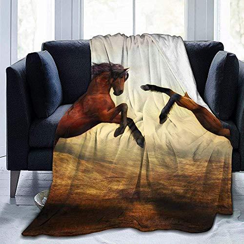 ZAlay Widerspenstiges Pferd - Ultraweiche Micro-Fleece-Decke - Leichte Thermo-Decke