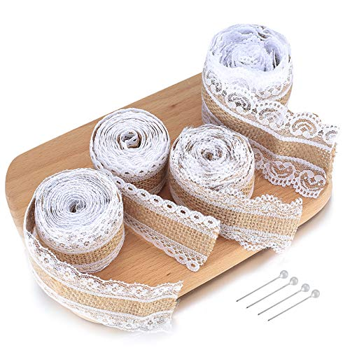 Burlap White Lace Ribbon Roll, Natural Hessian Ribbons Roll with Lace Trim, Vintage Burlap Fabric Jute Twine for Christmas Wedding Party Gifts Crafts Wrapping Decorations (4 Pieces, 2 Meter)