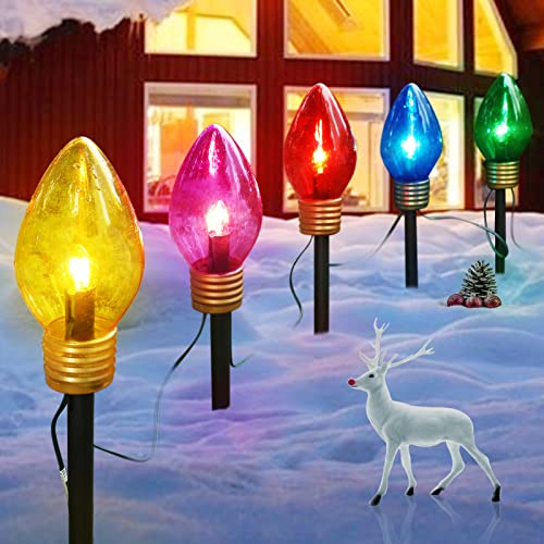 Christmas Lights Jumbo C9 Outdoor Lawn Decorations with Pathway Marker Stakes, 8.5 Feet C7 String Lights Covered Jumbo Multicolored Light Bulb, for Holiday Time Outside Yard Garden Decor, 5 Lights