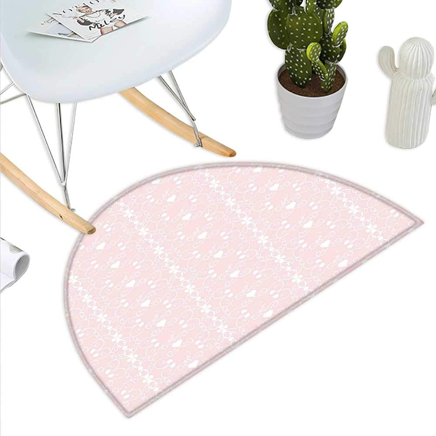 Pink and White Semicircle Doormat Victorian Style Girly Feminine Pattern with Curly Leaves Hearts and Flowers Halfmoon doormats H 39.3  xD 59  bluesh White