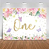 Mocsicka Butterfly Floral Birthday Backdrop Girls Princess Watercolor Flowers Golden Dots Background Banner Vinyl Happy 1st First Birthday Party Decoration Cake Table Photo Booth (7x5ft)