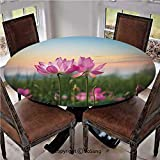 "Elastic Edged Polyester Fitted Table Cover,Beautiful Asian Flower Blooming in Spring Meadow Natural Zen Garden,Fits up 45""-56"" Diameter Tables,The Ultimate Protection for Your Table,Light Pink Green L"