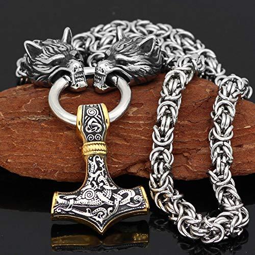 WTZWY Nordische Herren Amulett Thors Hammer Mjolnir Anhänger Halskette, Viking Edelstahl skandinavischen authentischen Schmuck, 3D Wolfskopf byzantinische Kette,50cm