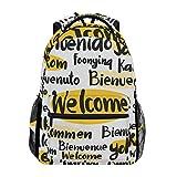 DXG1 Welcome-Rucksack mit verschiedenen Sprachen, für Damen, Herren, Teenager, Mädchen, Jungen, Schultasche, Büchertasche, Freizeitrucksack, Schultertasche, großes Fassungsvermögen, 40,5 x 29 x 20 cm
