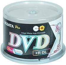 Ritek Ridata DRD+858-RDIWN-CB50 DVD+R Dual Layer (DL) 8X White Inkjet Hub Printable Double Layer Blank DVD Plus R Media Discs 50 Pack Cake Box