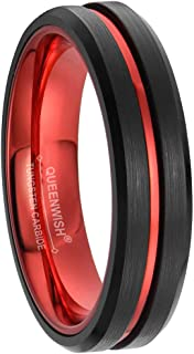 Queenwish 6/8mm Red&Black Tungsten Carbide Ring Mens Two Tone Wedding Bands Groove Beveled Edge Brushed Engagement Couples Rings