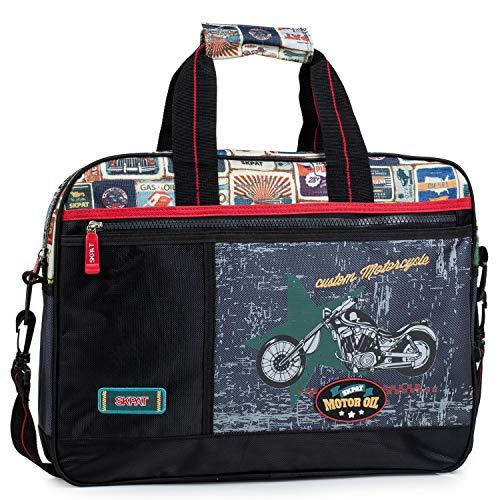 SKPAT - maletín extraescolar Infantil de niño. Cartera de Lona Estampada Moto. blocs libretas Libros. tamaño a4. cómodo 130506, Color Negro