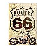 Lumanuby. 1x Retro 'Route 66' Vintage Schild für Bar Pub