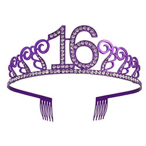 OSALADI Krone Hochzeit Jubiläum 16 Diadem Tiara mit Haarkamm Kristall Strass Birthday Crown Kopfbedeckung Kopfschmuck Geburtstagsgeschenk 16 Jahre für Mädchen Frauen Lila
