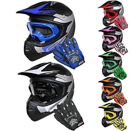 Leopard LEO-X19 *ECE 2205 Genehmigt* Kinder Motocross MX Helm Motorradhelm Crosshelm Kinderquad Off Road Enduro Sport + Handschuhe + Zorax Brille - #05 Grün L (53-54cm)