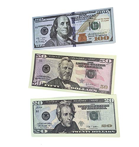 Olshop Movie Prop Money Full Print 100, 50, 20 Dollars Bills 2 Sided-Set 120 Copy Bills