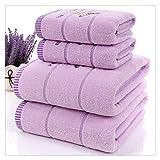 ZHUSHI-MJ Nuevo Juego De Toallas De Tela De Algodón Lavanda Blanca, 1 Pieza, Toallas De Baño para Adultos/Niños, 2 Piezas, Toalla Facial para Baño (Color : Purple, Size : Towel Set 3pcs)