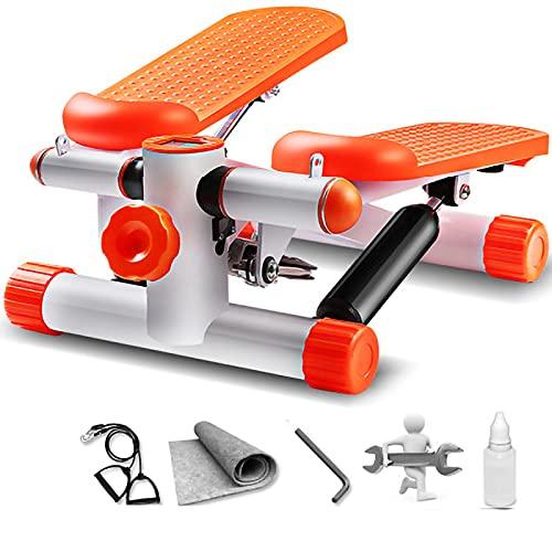 RHSMW Mini Fitness Stepper, Pantalla Inteligente Hidráulica Dual, Entrenamiento Aeróbico Silencioso, Ejercicio Todo El Cuerpo, Hogar, Caminata De Edad Avanzada,Naranja