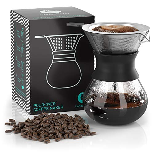 Pour Over Coffee Dripper - Coffee Gator Paperless Pour Over Coffee Maker - Stainless Steel Filter and BPA-Free Glass Carafe - Flavor Unlocking Hand Drip Brewer - 10.5oz - Green