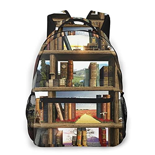 MAYBELOST Mochila casual de doble hombro,Libros Biblioteca Libro de cuentos Daydream K,Mochila ligera y duradera Mochila deportiva para viajes de negocios Mochila para adolescentes adultos
