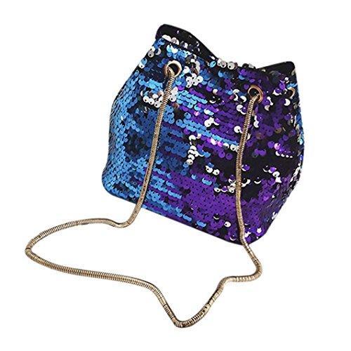 VJGOAL Damen Schultertasche, Frauen Mädchen Mode weibliche Bling Pailletten Eimer Party kleine Umhängetasche Frau Geschenk (17 * 12 * 17cm, Blau)