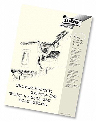 Folia 8304 - Skizzenblock, 120 g/m², DIN A4, 50 Blatt (5er Pack)