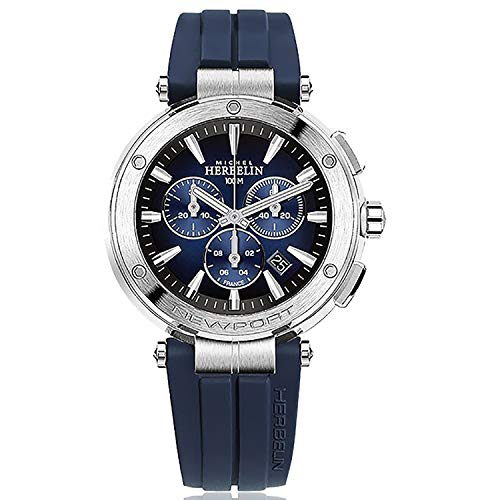 Michel Herbelin Newport 37688/35CB Herren-Armband aus Edelstahl, 43 mm, Silikon-Schnalle