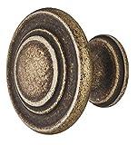 Gedotec Möbel-Griff Antik Messing matt - Metall Möbelknopf Vintage - HELLAS | Schrankknopf Küche für Schubladen & Schrank-Türen | Rund-Knopf Ø 34 mm | 1 Stück - Design Möbel-Knauf rund mit Schrauben