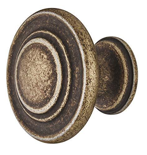 Gedotec meubelgreep antiek messing mat - metalen meubelknop vintage - HELLAS | kastknop keuken voor laden & kastdeuren | ronde knop Ø 10 mm | 1 stuk - design meubelknop rond met schroeven modern 1 Stück Antik Vermessingt