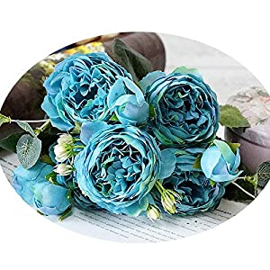 Sevem-D 5 Big Heads/Bouquet Peonies Artificial Flowers Silk Peonies Bouquet 4 Bud Flowers Wedding Fake Peony 6