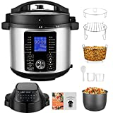 Pressure Cooker Air Fryer, 6QT 1500W All-in-1 Air Fryer Electric Pressure Cooker Combo, Dual Control Panel/Two Detachable Lids for Steamer, Slow Cooker, Multi-Cooker, and More, Included Basket Rack/ Recipe Book