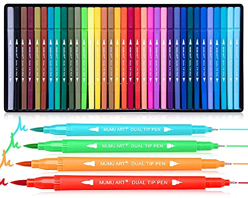 35 Dual Markers Pen for Adult Coloring Book, Nicecho Coloring Brush Art Marker, Fine Tip Colored Pens for Kids, Bullet Journaling Drawing Planner