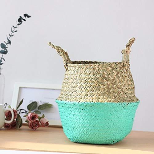 Wasmand LKU Opslag wasmand rotan stro rieten zeewier opvouwbare bloempot bloempot huishoudelijke mand, groen, L (32cmX30cm)