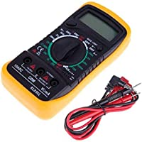 Multímetro de digital LCD AC/DC Voltímetro Resistencia Corriente Ohm Probador Medidor-Fusible F-200mA / 250V-Diodo/Prueba de empalme Transistor P-N/HFE. (Pequeña)